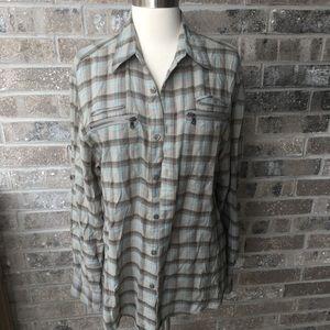 JOHN VARVATOS Plaid Long Sleeve Shirt Zip Pocket S